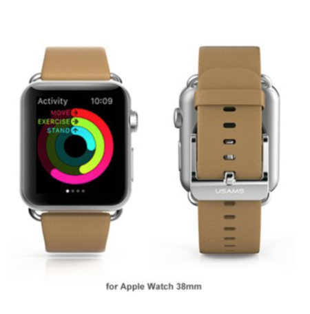 USAMS lederen Apple watch bandje 42mm - bruin