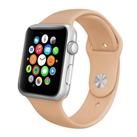 Apple watch 42mm rubberen sport bandje - Beige