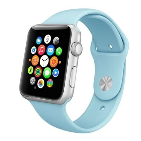 Apple watch 42mm rubberen sport bandje - Baby blauw
