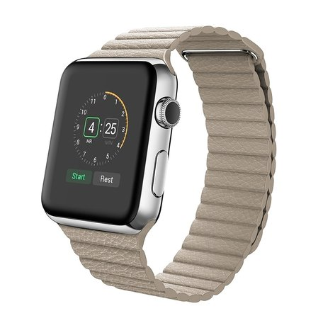 PU leather loop Apple watch 38mm bandje - licht bruin