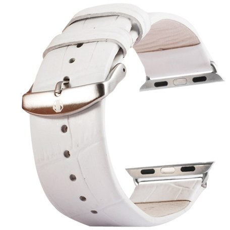 Kakapi crocodile 42mm leer - wit