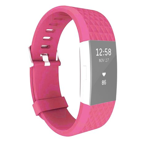 Fitbit Charge 2 siliconen bandje, Lengte: 23CM - Magenta