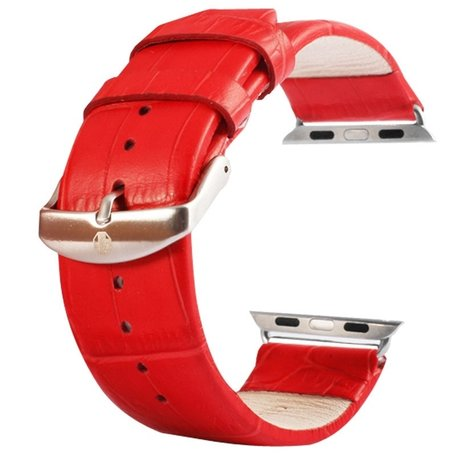 Kakapi crocodile 38mm leer / 40mm - Rood