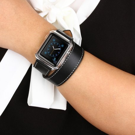 Apple watch 42mm / 44mm double strap - Zwart
