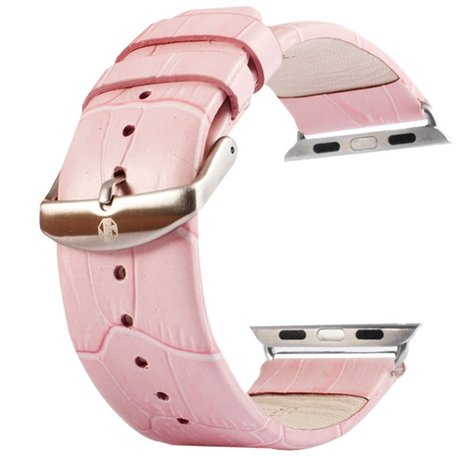 Kakapi crocodile 42mm / 44mm leer - Roze