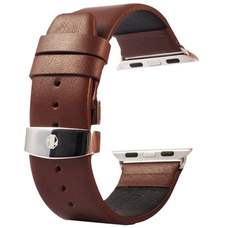 Kakapi Apple watch bandje 42mm / 44mm leer met vlindersluiting - Coffee