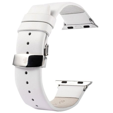 Kakapi Apple watch bandje 42mm / 44mm leer met vlindersluiting - Wit