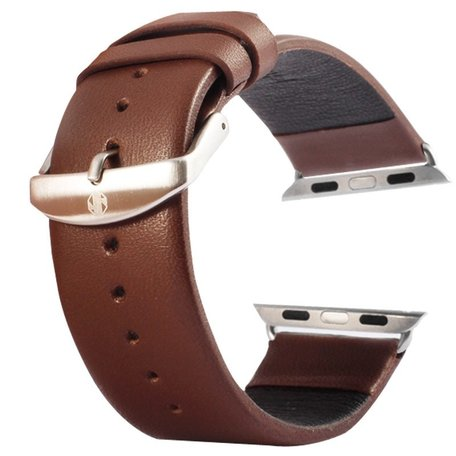 Kakapi Apple watch bandje 42mm / 44mm leer met gesp - Coffee