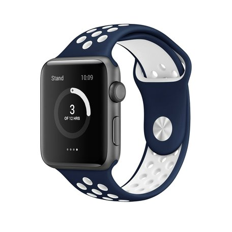 Apple watch sportbandje 42mm / 44mm - Blauw + Wit