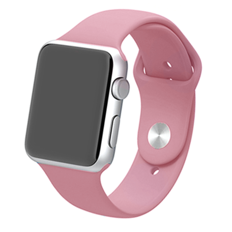 Apple watch 42mm / 44mm rubberen sport bandje - Baby roze