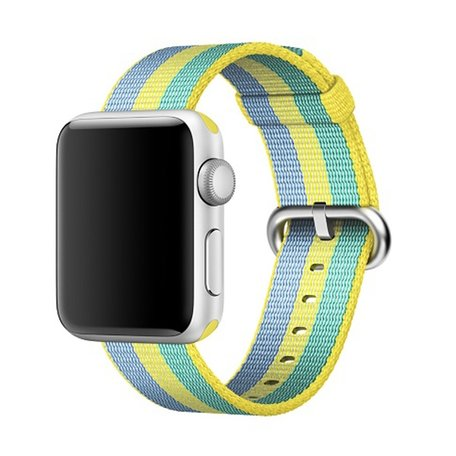 Nylon Apple watch 42mm / 44mm bandje - Geel / Groen / Blauw