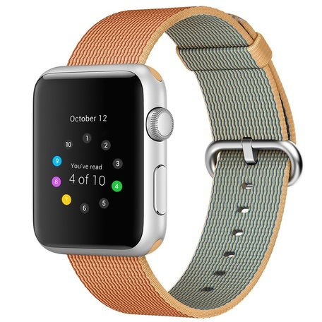 Nylon Apple watch 42mm / 44mm bandje - Licht bruin / Rood
