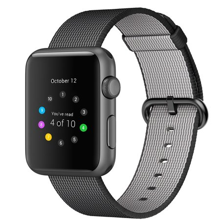 Nylon Apple watch 42mm / 44mm bandje - Zwart