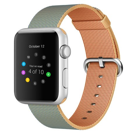 Nylon Apple watch 42mm / 44mm bandje - Licht bruin / Blauw