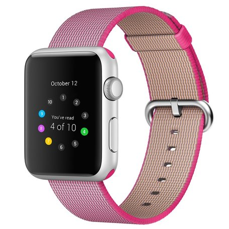 Nylon Apple watch 42mm / 44mm bandje - Roze