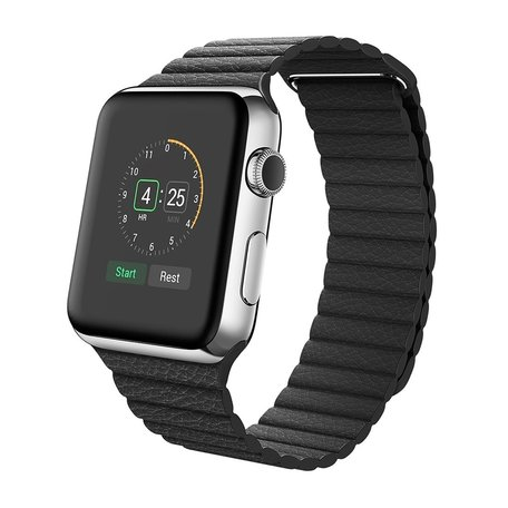 PU leather loop Apple watch 42mm / 44mm bandje - Zwart