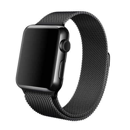 Milanees Apple watch bandje 42mm / 44mm RVS - Zwart