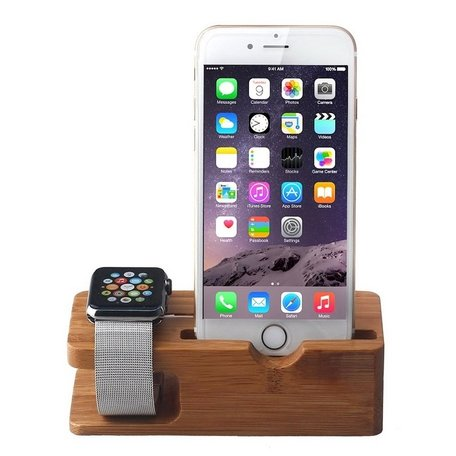Houten Apple watch en iPhone houder - Bamboe