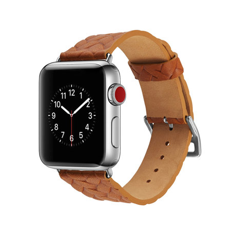 Leren Apple watch bandje 38mm / 40mm - Woven pattern - Licht bruin
