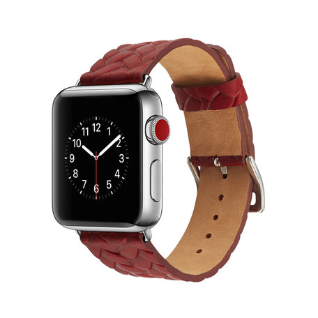 Leren Apple watch bandje 38mm / 40mm - Woven pattern - Rood