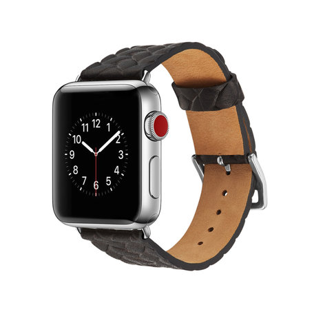 Leren Apple watch bandje 38mm / 40mm - Woven pattern - Zwart