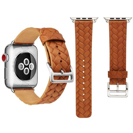 Leren Apple watch bandje 42mm / 44mm - Woven pattern - Licht bruin