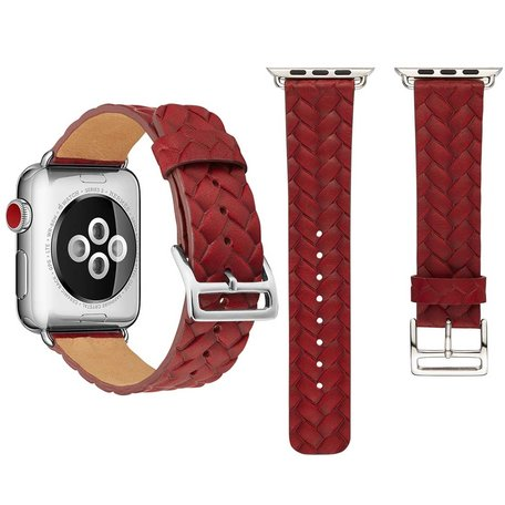 Leren Apple watch bandje 42mm / 44mm - Woven pattern - Rood