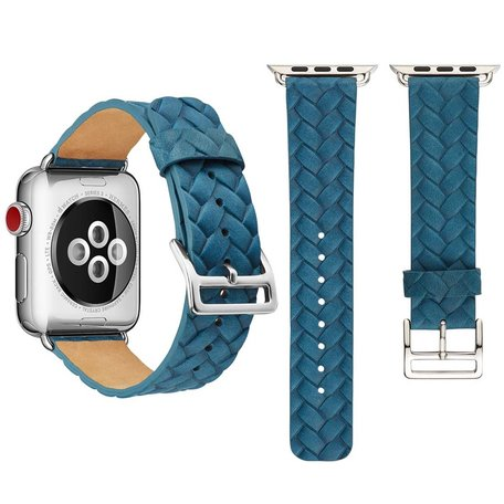 Leren Apple watch bandje 42mm / 44mm - Woven pattern - Blauw