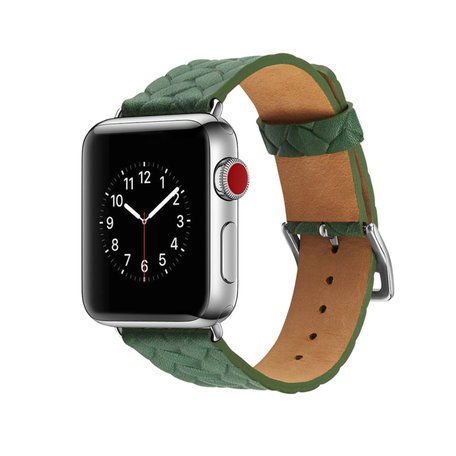 Leren Apple watch bandje 42mm / 44mm - Woven pattern - Groen