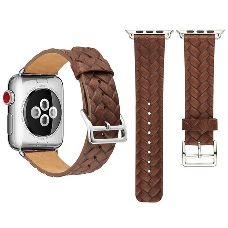 Leren Apple watch bandje 42mm / 44mm - Woven pattern - Donker bruin