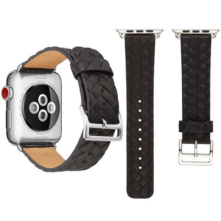 Leren Apple watch bandje 42mm / 44mm - Woven pattern - Zwart