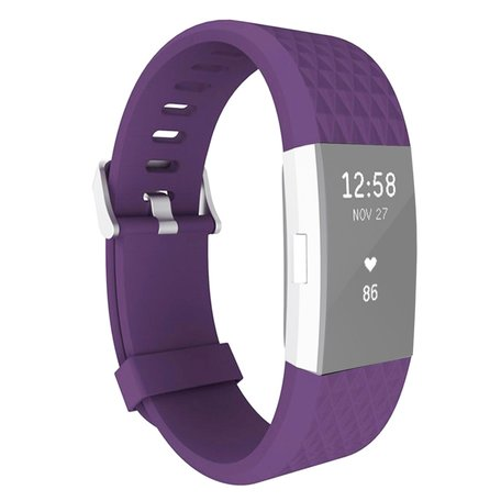 Fitbit Charge 2 siliconen bandje, Lengte: 23CM - Paars