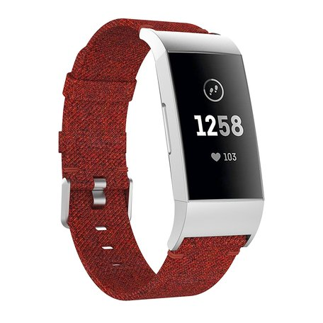 Fitbit Charge 3 nylon bandje - Donker rood