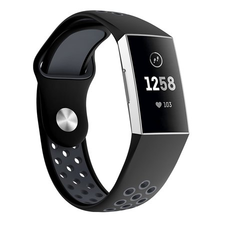 Fitbit Charge 3 siliconen DOT bandje - Zwart + Grijs (Small)