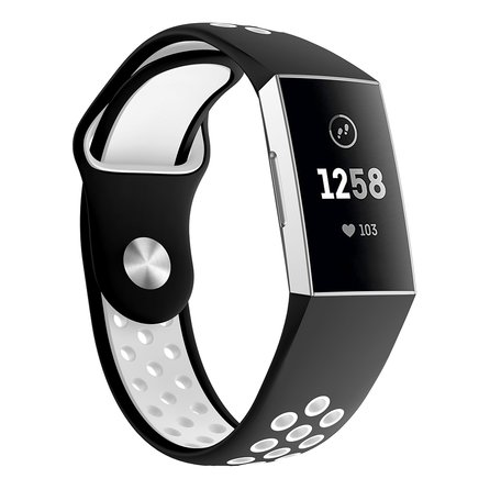 Fitbit Charge 3 siliconen DOT bandje - Wit / Zwart (Large)