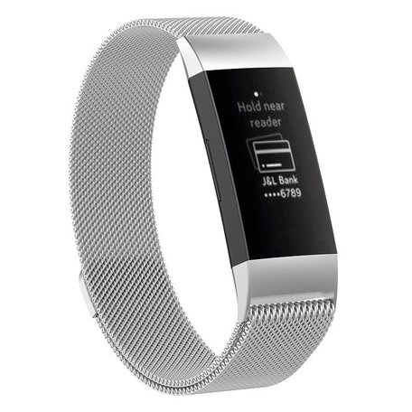 Fitbit Charge 3 milanese bandje (large) - Zilver