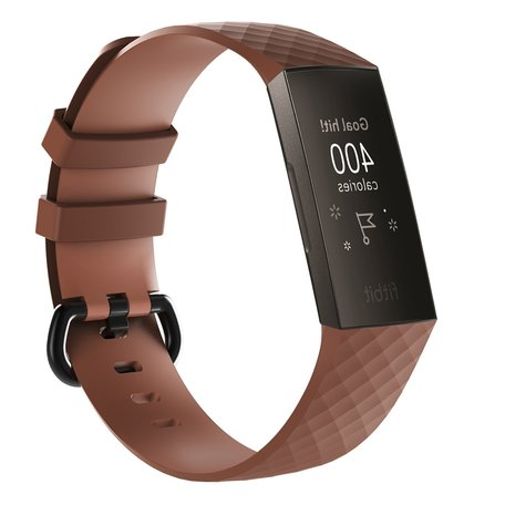 Fitbit Charge 3 siliconen diamant pattern bandje (Large) - Coffee