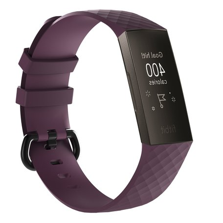 Fitbit Charge 3 siliconen diamant pattern bandje (Large)  - Donker paars
