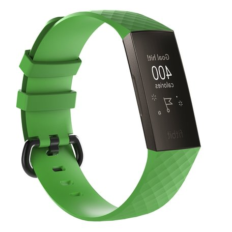 Fitbit Charge 3 siliconen diamant pattern bandje (Large) - Groen