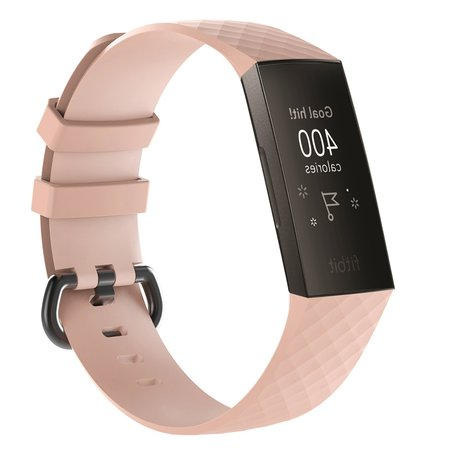 Fitbit Charge 3 siliconen diamant pattern bandje (Large) - licht roze