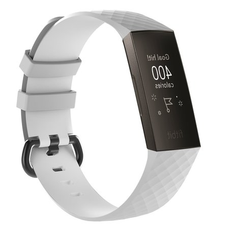 Fitbit Charge 3 siliconen diamant pattern bandje (Large) - Wit