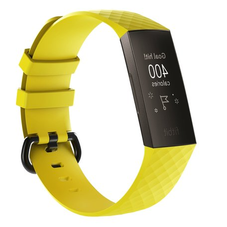 Fitbit Charge 3 siliconen diamant pattern bandje (Large) - Geel