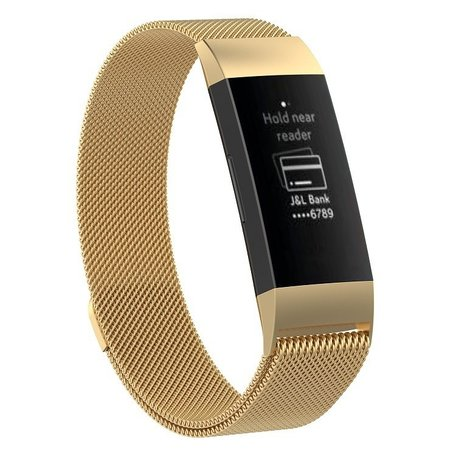 Fitbit Charge 3 milanese bandje (large) - Goud