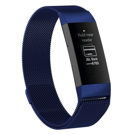 Fitbit Charge 3 milanese bandje (large) - Donkerblauw