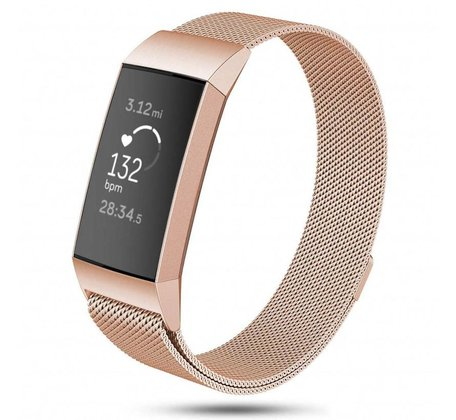 Fitbit Charge 3 milanese bandje (large) - Champagne goud