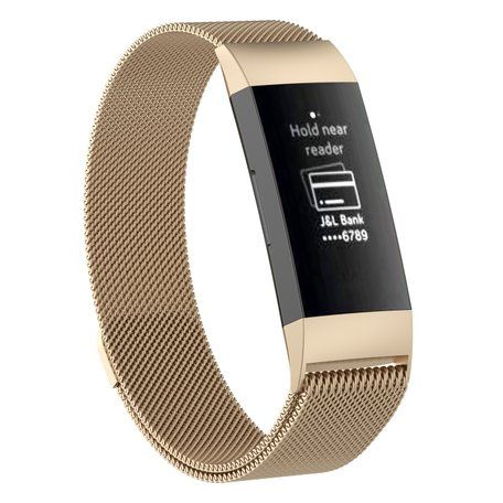 Fitbit Charge 3 milanese bandje (small)  - Vintage goud