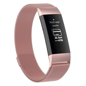 Fitbit Charge 3 milanese bandje (large)  - Rosé goud