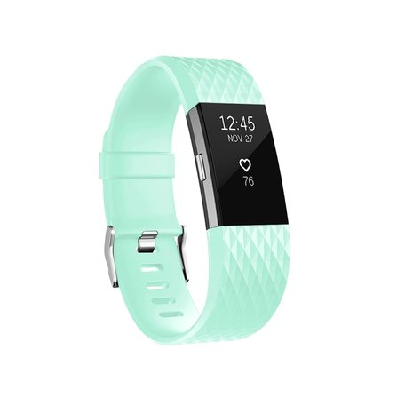 Fitbit Charge 2 siliconen bandje, Lengte: 23CM - Cyaan