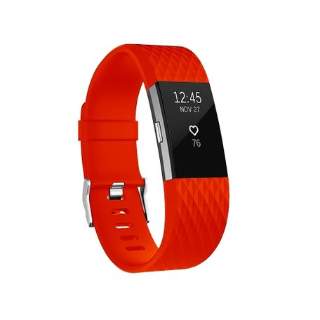 Fitbit Charge 2 siliconen bandje, Lengte: 23CM - Rood