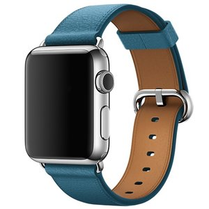 Apple watch classic lederen band 42/44 mm - Donker blauw